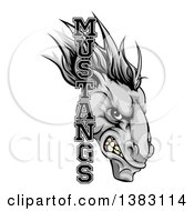 Clipart Of A Snarling Gray Mustang Horse Mascot With Text Royalty Free Vector Illustration