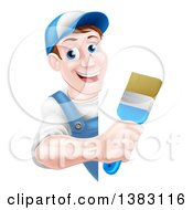 Poster, Art Print Of Happy Middle Aged Brunette Caucasian Male House Painter Holding A Brush Around A Sign