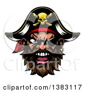 Pirate Mascot Face With An Eye Patch And Captain Hat