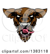 Clipart Of A Roaring Brown Werewolf Head Royalty Free Vector Illustration