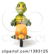 Clipart Of A 3d Green Tortoise Riding A Scooter On A White Background Royalty Free Illustration