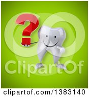 Clipart Of A 3d Tooth Character On A Green Background Royalty Free Illustration