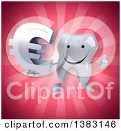 Clipart Of A 3d Tooth Character On A Pink Background Royalty Free Illustration