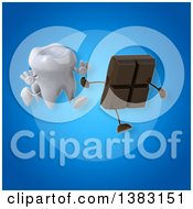 Clipart Of A 3d Tooth Character Chasing A Chocolate Bar On A Blue Background Royalty Free Illustration