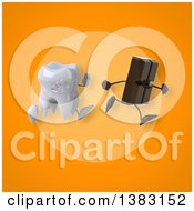 Clipart Of A 3d Tooth Character Chasing A Chocolate Bar On An Orange Background Royalty Free Illustration