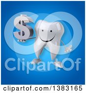 Clipart Of A 3d Tooth Character On A Blue Background Royalty Free Illustration