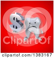 Clipart Of A 3d Tooth Character On A Red Background Royalty Free Illustration