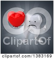 Clipart Of A 3d Tooth Character On A Gray Background Royalty Free Illustration