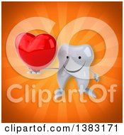 Clipart Of A 3d Tooth Character On An Orange Background Royalty Free Illustration