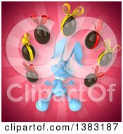 Clipart Of A 3d Blue Bunny Rabbit Juggling Chocolate Easter Eggs On A Pink Background Royalty Free Illustration