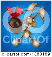 Clipart Of A 3d Brown Bunny Rabbit Holding A Chocolate Easter Egg On A Blue Background Royalty Free Illustration