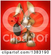 Clipart Of A 3d Brown Bunny Rabbit Holding A Chocolate Easter Egg On A Red Background Royalty Free Illustration
