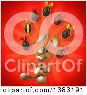 Clipart Of A 3d Brown Bunny Rabbit Juggling Chocolate Easter Eggs On A Red Background Royalty Free Illustration