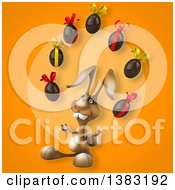 Clipart Of A 3d Brown Bunny Rabbit Juggling Chocolate Easter Eggs On An Orange Background Royalty Free Illustration