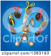Clipart Of A 3d Brown Bunny Rabbit Juggling Chocolate Easter Eggs On A Blue Background Royalty Free Illustration