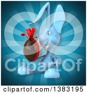 Clipart Of A 3d Blue Bunny Rabbit Holding A Chocolate Easter Egg On A Blue Background Royalty Free Illustration