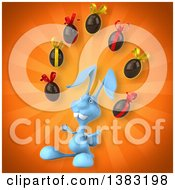 Clipart Of A 3d Blue Bunny Rabbit Juggling Chocolate Easter Eggs On An Orange Background Royalty Free Illustration