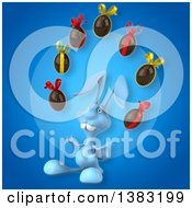 Clipart Of A 3d Blue Bunny Rabbit Juggling Chocolate Easter Eggs On A Blue Background Royalty Free Illustration