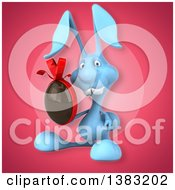 Clipart Of A 3d Blue Bunny Rabbit Holding A Chocolate Easter Egg On A Pink Background Royalty Free Illustration