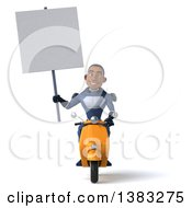 Clipart Of A 3d Young Black Male Super Hero In A Dark Blue Suit Riding A Scooter On A White Background Royalty Free Illustration