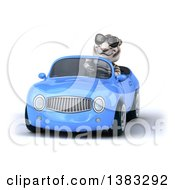 Clipart Of A 3d White Tiger Driving A Blue Convertible Car On A White Background Royalty Free Illustration