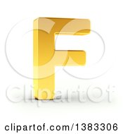 Clipart Of A 3d Golden Capital Letter F On A Shaded White Background With Clipping Path Royalty Free Illustration by stockillustrations