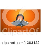 Clipart Of A 3d Ufo Flying Saucer On An Orange Background Royalty Free Illustration