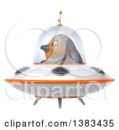 Clipart Of A 3d Robin Bird Flying A Ufo On A White Background Royalty Free Illustration