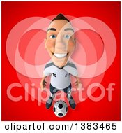 Clipart Of A 3d White German Soccer Player On A Red Background Royalty Free Illustration