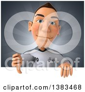 Clipart Of A 3d White German Soccer Player On A Gray Background Royalty Free Illustration