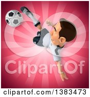 Clipart Of A 3d White German Soccer Player On A Pink Background Royalty Free Illustration