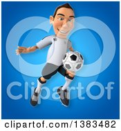 Clipart Of A 3d White German Soccer Player On A Blue Background Royalty Free Illustration