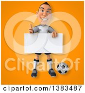 Clipart Of A 3d White German Soccer Player On An Orange Background Royalty Free Illustration