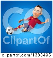 Clipart Of A 3d Male Spanish Soccer Player On A Blue Background Royalty Free Illustration