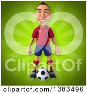 Clipart Of A 3d Male Spanish Soccer Player On A Green Background Royalty Free Illustration