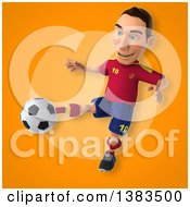 Clipart Of A 3d Male Spanish Soccer Player On An Orange Background Royalty Free Illustration