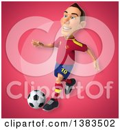 Clipart Of A 3d Male Spanish Soccer Player On A Pink Background Royalty Free Illustration