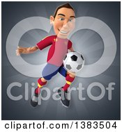 Clipart Of A 3d Male Spanish Soccer Player On A Gray Background Royalty Free Illustration