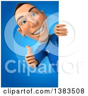 Clipart Of A 3d White Male Italian Soccer Player On A Blue Background Royalty Free Illustration