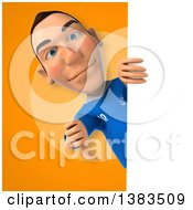 Clipart Of A 3d White Male Italian Soccer Player On An Orange Background Royalty Free Illustration