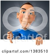 Clipart Of A 3d White Male Italian Soccer Player On A Gray Background Royalty Free Illustration