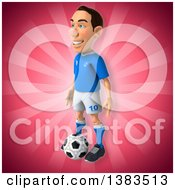 Clipart Of A 3d White Male Italian Soccer Player On A Pink Background Royalty Free Illustration