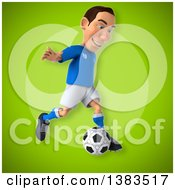 Clipart Of A 3d White Male Italian Soccer Player On A Green Background Royalty Free Illustration