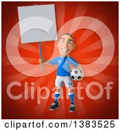 Clipart Of A 3d White Male Italian Soccer Player On A Red Background Royalty Free Illustration