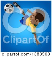 Clipart Of A 3d Black Male Brazilian Soccer Player On A Blue Background Royalty Free Illustration