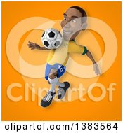 Clipart Of A 3d Black Male Brazilian Soccer Player On An Orange Background Royalty Free Illustration
