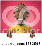 Clipart Of A 3d Black Male Brazilian Soccer Player On A Pink Background Royalty Free Illustration