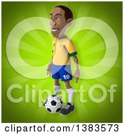 Clipart Of A 3d Black Male Brazilian Soccer Player On A Green Background Royalty Free Illustration