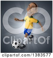 Clipart Of A 3d Black Male Brazilian Soccer Player On A Gray Background Royalty Free Illustration