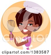 Clipart Of A Pretty Black Chef Woman Holding Up A Whisk In An Orange Circle Royalty Free Vector Illustration